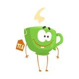 Leuke beeldverhaal groene kop thee met smileygezicht, de grappige vectorillustratie van het snel voedselkarakter Royalty-vrije Stock Fotografie