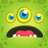 Leuke beeldverhaal groene vreemdeling met drie ogen Het vectorhalloween-monsteravatar spreken Royalty-vrije Stock Foto's