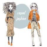 Leuke beeldverhaal hipster meisjes royalty-vrije illustratie