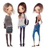 Leuke beeldverhaal hipster meisjes vector illustratie