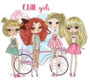 Leuke beeldverhaal hipster meisjes stock illustratie