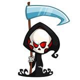 Leuke beeldverhaal onverbiddelijke die maaimachine met zeis op wit wordt geïsoleerd Het leuke Halloween-karakter van de skeletdoo royalty-vrije illustratie