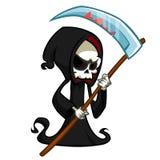 Leuke beeldverhaal onverbiddelijke die maaimachine met zeis op wit wordt geïsoleerd Leuk Halloween-het karakterpictogram van de s vector illustratie