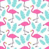 Leuke beeldverhaal roze flamingo's en groene tropische die bladeren op witte achtergrond worden geïsoleerd Het vector naadloze pa royalty-vrije illustratie