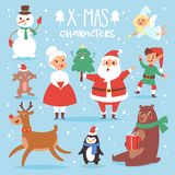 Leuke beeldverhaal Santa Claus, sneeuwman, Rendier, Kerstmis van Kerstmis draagt het vectorkarakters, Kerstmanvrouw, het symbool  stock illustratie