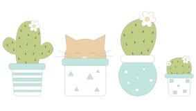 Leuke beeldverhaal succulente installaties in mooie witte en blauwe potten en illustratie van het katten de grappige humeur royalty-vrije illustratie