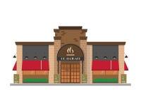 Leuke beeldverhaal vectorillustratie van een restaurant Royalty-vrije Stock Foto's