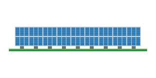 Leuke beeldverhaal vectorillustratie van een zonne photovoltaic elektrische centrale royalty-vrije illustratie