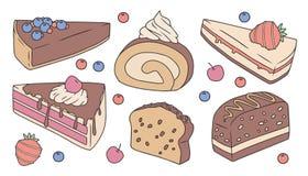 Leuke beeldverhaal vectorinzameling die met verschillende heerlijke cakeplakken wordt geplaatst stock illustratie