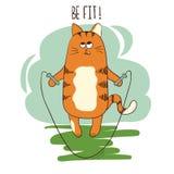 Leuke beeldverhaal vette kat die met touwtjespringen springen Stock Foto's
