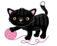 Leuke beeldverhaal zwarte kat met klauw. Stock Afbeelding