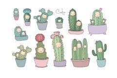 Leuke beeldverhaalcactus en succulents in potten Vector stock afbeelding