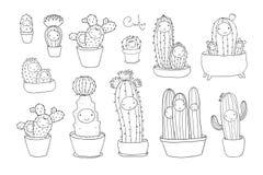Leuke beeldverhaalcactus en succulents in potten Vector royalty-vrije stock foto
