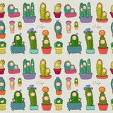 Leuke beeldverhaalcactus en succulents in potten Vector illustratie Patroon met cactussen stock fotografie