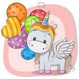 Leuke Beeldverhaaleenhoorn met ballon royalty-vrije illustratie