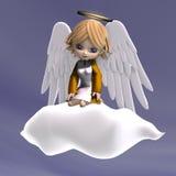 Leuke beeldverhaalengel met vleugels en halo stock illustratie
