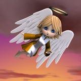 Leuke beeldverhaalengel met vleugels en halo. 3D stock illustratie