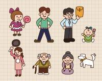 Leuke beeldverhaalfamilie Stock Afbeelding