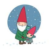 Leuke beeldverhaalgnomen Kerstmiself Grootvader en kleinzoon - Vector stock afbeelding