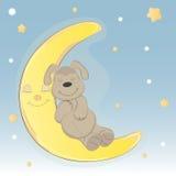 Leuke beeldverhaalhond die op de maan slapen Royalty-vrije Illustratie