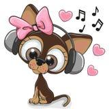 Leuke beeldverhaalhond met hoofdtelefoons royalty-vrije illustratie