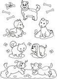 Leuke beeldverhaalhonden: kleurende pagina royalty-vrije illustratie