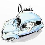 Leuke beeldverhaaljongen die klassieke auto drijven stock illustratie