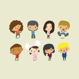 Leuke Beeldverhaaljongens en Meisjes De vectorillustratie van de klemkunst Stock Foto's