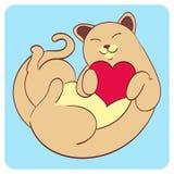 Leuke beeldverhaalkat met hart voor plaats, prentbriefkaar, heden Vector illustratie Stock Fotografie