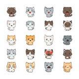Leuke beeldverhaalkatten en honden met verschillende emoties Stickerinzameling Stock Afbeeldingen