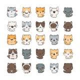 Leuke beeldverhaalkatten en honden met verschillende emoties Stickerinzameling Stock Foto's