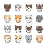 Leuke beeldverhaalkatten en honden met verschillende emoties Stickerinzameling Stock Afbeelding