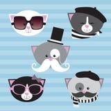 Leuke beeldverhaalkatten met een Frans thema stock illustratie