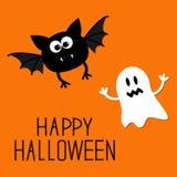 Leuke beeldverhaalknuppel en kaart van spook de Gelukkige Halloween Vlak Ontwerp Royalty-vrije Stock Afbeeldingen