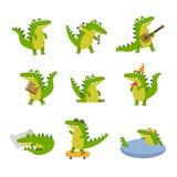 Leuke beeldverhaalkrokodil in verschillende situaties, kleurrijke karakters vectorillustraties royalty-vrije illustratie