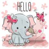 Leuke beeldverhaalolifant met vogel vector illustratie
