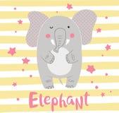 Leuke beeldverhaalolifant op een gestreepte achtergrond Royalty-vrije Stock Afbeelding