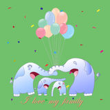 Leuke beeldverhaalolifant, vectorillustratie Stock Foto's