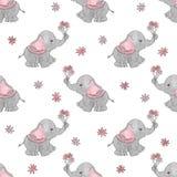 Leuke beeldverhaalolifanten met bloemen naadloos vectorpatroon vector illustratie