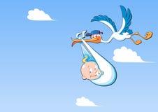 Leuke beeldverhaalooievaar en baby Een vliegende vogel die een pasgeboren baby vervoeren, tegen een blauwe hemel met witte wolken stock illustratie