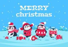 Leuke beeldverhaalpinguïnen De pinguïn noordpoolkarakters van de Kerstmisbaby in sneeuw de winterlandschap De vrolijke groet van  vector illustratie