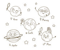 Leuke beeldverhaalplaneten stock illustratie
