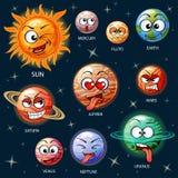 Leuke beeldverhaalplaneten van het zonnestelsel vector illustratie
