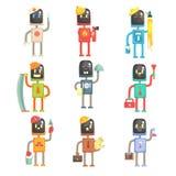 Leuke beeldverhaalrobots in diverse beroepenreeks kleurrijke karakters vectorillustraties stock illustratie