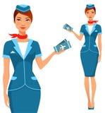 Leuke beeldverhaalstewardess met vliegtuigkaartjes Royalty-vrije Stock Foto