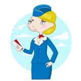 Leuke beeldverhaalstewardess met vliegtuigkaartjes Stock Foto