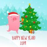 Leuke beeldverhaalvarken en Kerstboom Symbool van het nieuwe jaar van 2019 V royalty-vrije illustratie