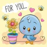 Leuke beeldverhaalvogel met bloem op oranje achtergrond vector illustratie