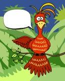 Leuke beeldverhaalvogel met een toespraakbel Stock Foto