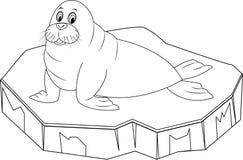 Leuke beeldverhaalwalrus op ijsijsschol Stock Foto's